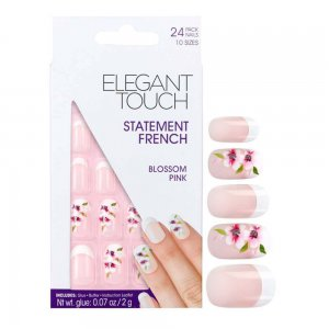 Statement Blossom Pink French Manicure Nails