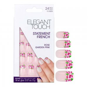 Statement Pink Rose Garden French Manicure Nails