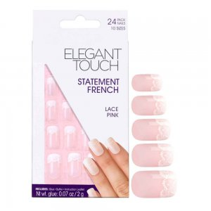 Statement Lace Pink French Manicure Nails