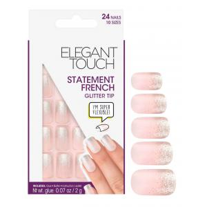 Statement Glitter Tip French Manicure Nails
