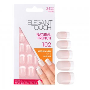 Natural French Manicure Pink Nails 102 (Medium)