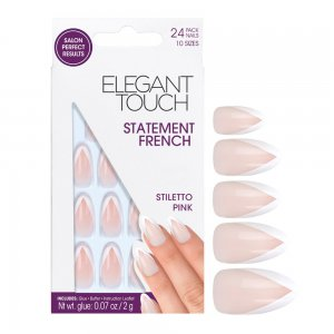 Statement Pink French Manicure Stiletto Nails